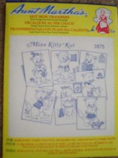EMBROIDERY IRON ON TRANSFER PATTERNS MISS KITTY KAT CATS KITTEN CAT