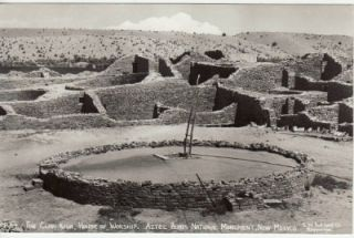Vintage Real Photo Postcard Clan Kiva Aztec Ruins