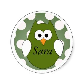 Personalized Green Owl Magnet Round Sticker