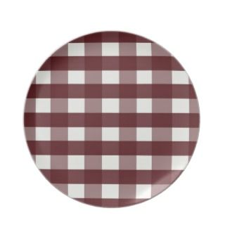Red Melamine Christmas Plates Cranberry Plaid