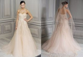 Anne Barge Couture Pink Silk Wedding Dress $6370 Retail Huge Price