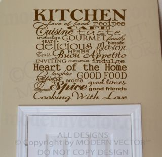 Kitchen Collage Quote Vinyl Wall Decal Lettering Cafe Indulge Heart