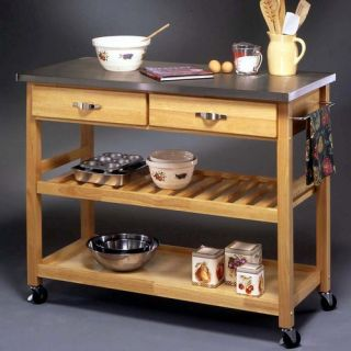 Kitchen Island Cart with Stainless Steel Top in Natural Finish