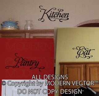 Kitchen Words Vinyl Wall Decal Decor Bedroom Kitchen Pantry Eat