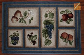 3x4 Kitchen Rug Mat Lite Blue Washable Mats Rugs Fruit Grapes Pears