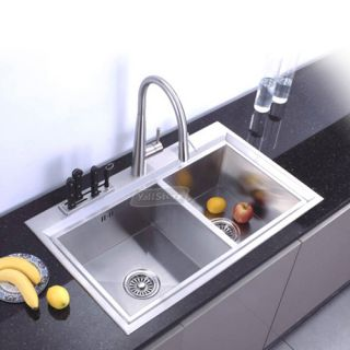 22 16 Gauge 304# Stainless Steel Double Bowls Top Mount Kitchen Sinks