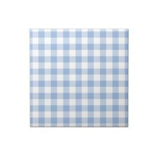 Buffalo Check Plaid Pattern   Lt Blue White Ceramic Tile