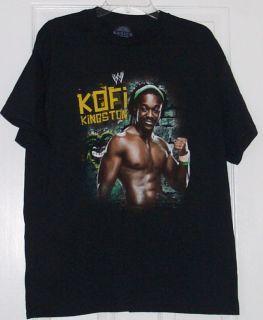 WWE Kofi Kingston Logo Portrait Adult Black Shirt