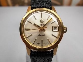 Zodiac Date Gold Plated Automatic Ladies Watch