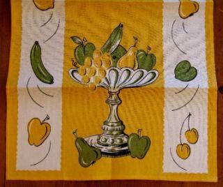 Fab Vintage Fruit Compote Kitchen Tea Towel Unused Mid Century So Fun