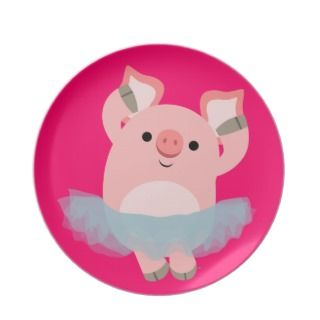 Cute Cartoon Ballerina Pig Plate