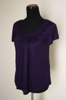 NWOT H&M woven detail trim short sleeve knit top sz S Small