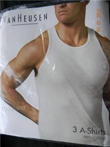 Van Heusen 3 Pack Ribbed Knit A Shirt XL x Large White Cotton