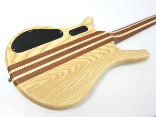 New Kona Pro Quality 4 String Electric Bass Guitar Natural thru Neck