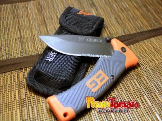 Gerber Bear Grylls Folding Sheath Knife Saw Handle Blade Pocket Knives