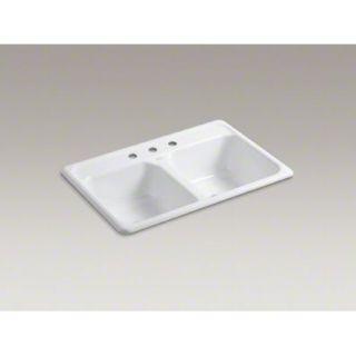 Kohler K 5817 3 0 Self Rimming Kitchen Sink White