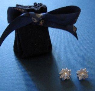 Konstantino Silver Stud Cross Earrings w Blue Topaz