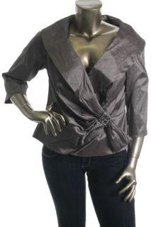 KM Collections Brown Taffeta 3 4 Sleeves Faux Wrap Top Blouse Plus 14W