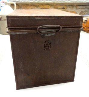 antique Kreamer Bread Box Tin Latch Lid w Handles★