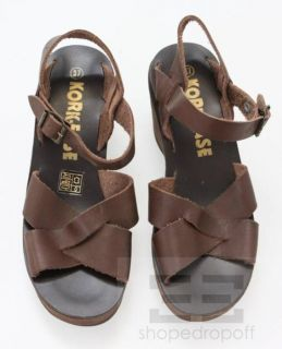 Kork Ease Chocolate Brown Leather Suede Ava High Wedge Sandals Size
