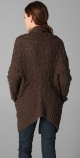 Vince Cocoon Cable Knit Sweater Coat Nutmeg Brown Cardigan Small $345