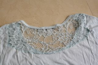Forever 21 Lace Back Short Sleeve Knit Top Turquoise Sz s Small