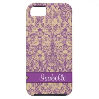 iPhone 5 Case Mate Tough  Purple Damask Name tag