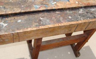 Vtg Ben Kroll Detroit Industrial Folk Art Artist Table Work Bench