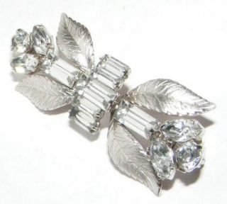 Vintage Krementz Rhinestone Leaf Brooch Pin Costume Jewelry Signed