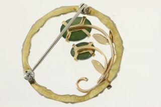Vintage Krementz Costume Jewelry Gold Tone Jade Inset Circle Brooch