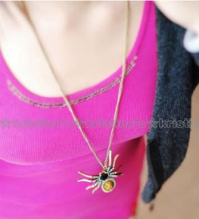 Gorgeous Big Retro Bronze Rhinestone Spider Long Necklace P50X60MM