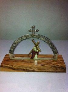 Jesus Statue Via Dolorosa Cross Christian Christ Olive Wood Redeemer