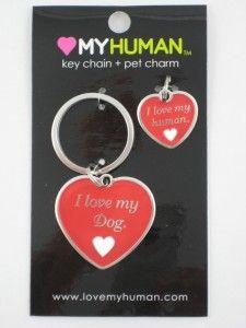 Love My Dog Human Heart Keychain Pet Collar Charm New