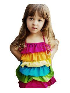2012 New Child Kids Girl Princess One piece Tiered Rainbow Swimsuit
