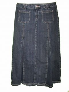 La Blues Sz 6 Womens Blue Jeans Denim Long Skirt Stretch KO55
