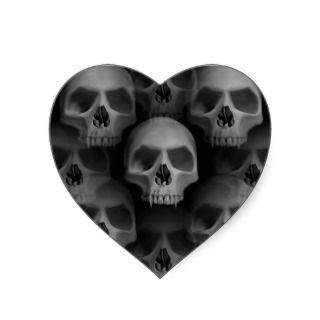 Gothic evil fanged skull Halloween horror Heart Stickers