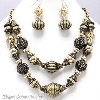 Burnished Gold Bead Chunky Necklace Set Elegant Costume Jewelry