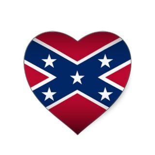 love Rednecks! Heart shaped Confederate Flag Heart Stickers