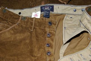 Polo Ralph Lauren Double RL RRL Mens Corduroy Khaki Cargo Patch Pants