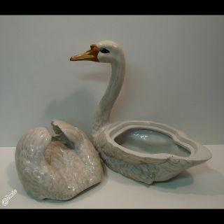 Box Jewelry Tobacco Figurine Swan Bird Wildlife Art Deco Style Art