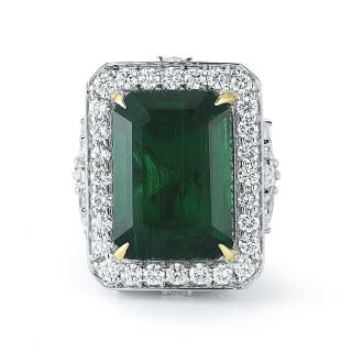 Spectacular 20 83 Ct Natural Emerald Diamond Ring 18 White Gold One of