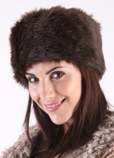 RJM Ladies Dark Brown Faux Fur Russian Cossack Style Hat One Size