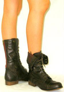 Lace Up Combat Military Back Zipper Flat Mid Calf Riding Cuff Boots