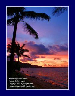 Hawaii Hawaiian Palm Tree Ocean Beach Sunset Photo Art
