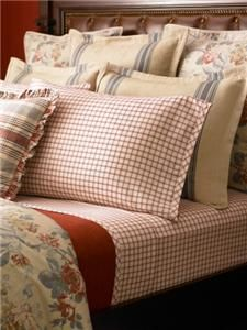 Ralph Lauren Lake House Red Plaid King Pillowcases New 1st Quality