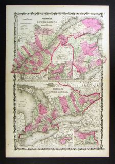 1862 Johnson Map   Upper & Lower Canada Ontario Quebec New Brunswick