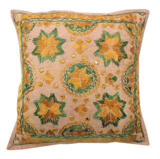 Mirror Work Cushion Cover Cotton Embroidered Brown Pillow Case India