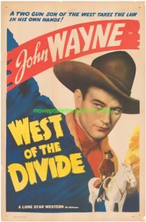 West of The Divide Movie Poster R1940 John Wayne