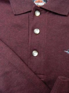Harley Davidson Twin Cities Lakeville MN Burgundy Polo Shirt Long