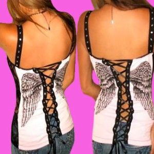 Demi Loon DIY Fallen Angel Wings Tattoo Lace Punk Sexy Corset Top x s